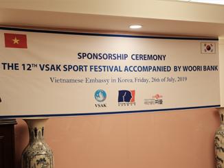 LỄ TRAO TÀI TRỢ CỦA CÔNG ĐOÀN NGÂN HÀNG WOORI VÀ CÔNG TY PEOPLE & DREAM CHO ĐẠI HỘI THỂ DỤC THỂ THAO VSAK XII - 2019