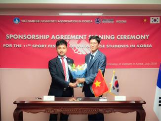Toàn cảnh lễ ký kết nhà tài trợ cho chương trình Đại hội thể dục thể thao lần thứ 11 tại Hàn Quốc